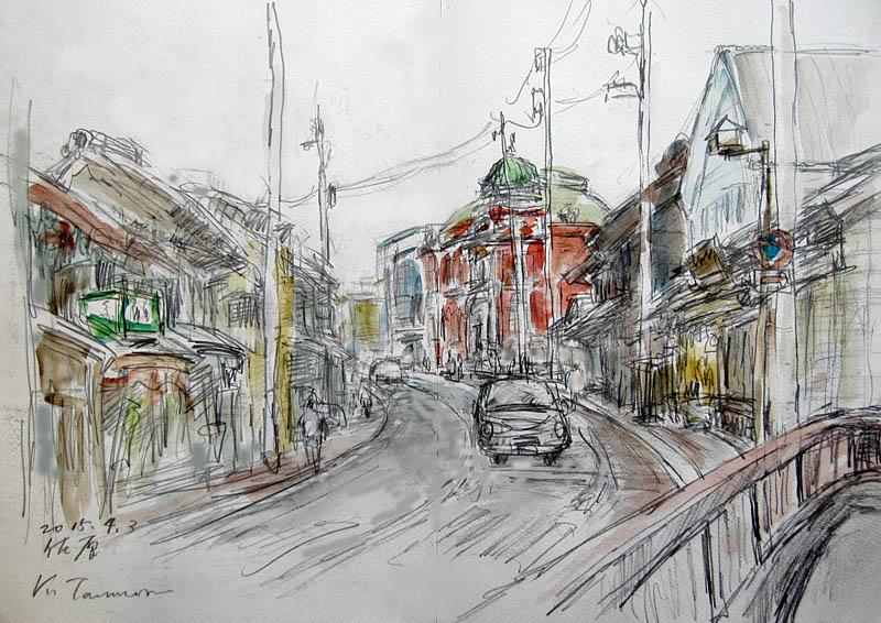 ウロウロしていたら1枚も描けない気がする。それならここ、忠孝橋で描くのが一番、今度は反対側を向いて三菱館(レンガ造りの建物)方面を描きました。